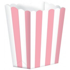 New Pink & White Stripes Small Popcorn Favour Boxes 13cm x 9.5cm Pack of 5