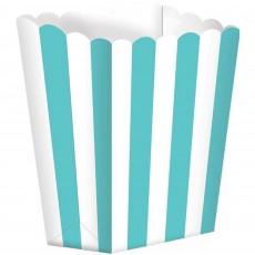 Robin's Egg Blue & White Stripes Small Popcorn Favour Boxes 13cm x 9.5cm Pack of 5