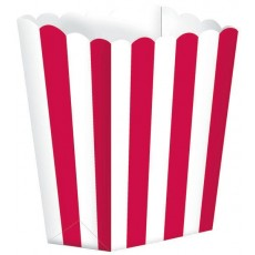 Apple Red & White Stripes Small Popcorn Favour Boxes 13cm x 9.5cm Pack of 5