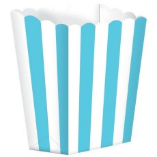 Caribbean Blue & White Stripes Small Popcorn Favour Boxes 13cm x 9.5cm Pack of 5