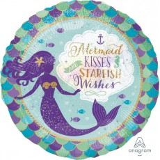 Round Mermaid Wishes Standard Holographic Mermaid Kisses Starfish Wishes Foil Balloon 45cm