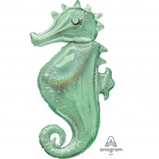 Seahorse Mermaid Wishes SuperShape Holographic Shaped Balloon 50cm x 96cm