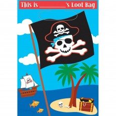 Pirate's Treasure Pirate Party Folded Loot Favour Bags Pack of 8