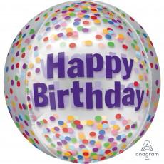 Happy Birthday Funfetti Clear Shaped Balloon