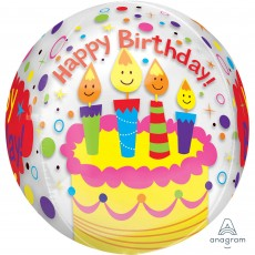 Happy Birthday Candles & Confetti Clear Shaped Balloon