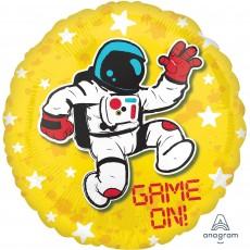 Round Epic Standard HX Astronaut Game On! Foil Balloon 45cm