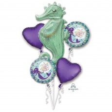 Mermaid Wishes Searhorse Bouquet Foil Balloons Pack of 5