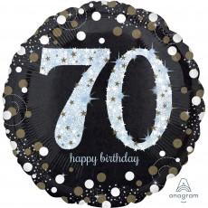 Round 70th Birthday Sparkling Celebration Jumbo Holographic Foil Balloon 71cm