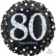 80th Birthday Sparkling Celebration Jumbo Holographic Foil Balloon