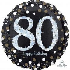 Round 80th Birthday Sparkling Celebration Jumbo Holographic Foil Balloon 71cm