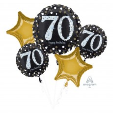 70th Birthday Sparkling Celebration Bouquet Foil Balloons Pack of 5