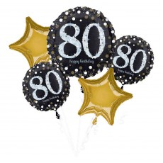 80th Birthday Sparkling Celebration Bouquet Foil Balloons Pack of 5
