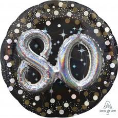 80th Birthday Sparkling Celebration Multi-Balloon Foil Balloon