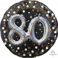 Round 80th Birthday Sparkling Celebration Multi-Balloon Foil Balloon 91cm