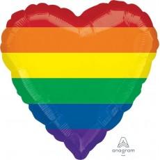 Heart Rainbow Stripes Standard HX Fun Shaped Balloon 45cm