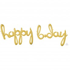 Gold Happy Birthday CI: Script Phrase happy b.day Shaped Balloon 93cm x 68cm