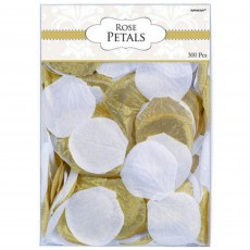 Gold & White Rose Flower Fabric Petals Confetti