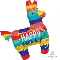Mexican Fiesta Pinata Party SuperShape XL Happy Birthday! Shaped Balloons 73cm x 83cm