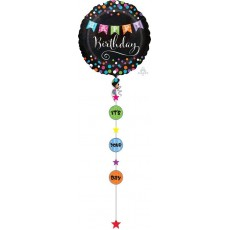 Happy Birthday Drop-A-Line Holographic Jumbo Shaped Balloon