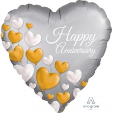 Anniversary Satin Platinum Standard XL Shaped Balloon