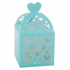 Robin's Egg Blue Lantern Paper Favour Boxes 6.3cm x 6.3cm x 6.3cm Pack of 50
