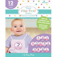 Baby Shower Party Supplies - Month by Month Girl's First Year Stickers