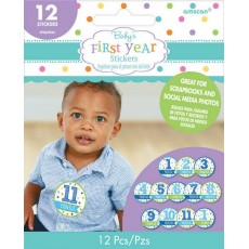Baby Shower Party Supplies - Month by Month Boy's First Year Stickers