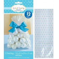 Clear with Blue Dots Cello Treat Favour Bags 20.9cm x 9.5cm x 2.5cm Pack of 12
