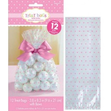 Clear with Pink Dots Cello Treat Favour Bags 20.9cm x 9.5cm x 2.5cm Pack of 12