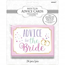 Bachelorette Bride to Be Advice Cards Party Games