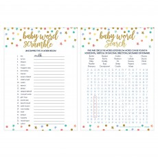 Baby Shower Party Supplies - Party Games 2 in 1 Word Games