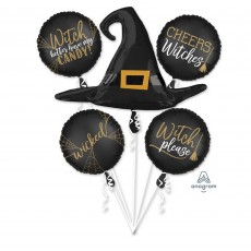 Halloween Party Supplies - Foil Balloons - Witch Silhouette Bouquet