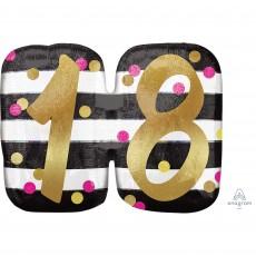 18th Birthday Pink & Gold Milestone SuperShape Holographic Shaped Balloon 63cm x 50cm