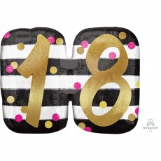 18th Birthday Pink & Gold Milestone SuperShape Holographic Shaped Balloon