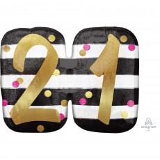 21st Birthday Pink & Gold Milestone SuperShape Shaped Balloon 63cm x 50cm