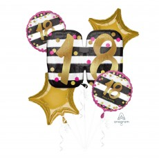 18th Birthday Pink & Gold Milestone Bouquet Foil Balloons