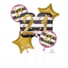 21st Birthday Pink & Gold Milestone Bouquet Foil Balloons