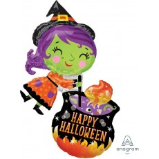 Halloween SuperShape Witch & Cauldron Shaped Balloon