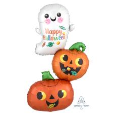 Halloween SuperShape XL Ghost & Pumpkins Stacker Shaped Balloon