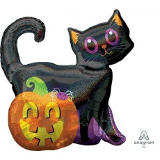 Halloween SuperShape Holographic Black Cat & Pumpkin Shaped Balloon