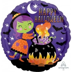 Halloween Standard HX Witch & Cauldron Foil Balloon