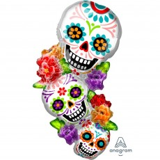 Halloween SuperShape XL Day of the Dead Stacking Sugar Skulls Shaped Balloon