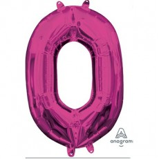 Number 0 Party Decorations - Shaped Balloon CI: Number 0 Pink  40cm