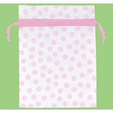 Dots Pink  Organza Favour Bags