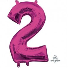 Number 2 Party Decorations - Shaped Balloon CI: Number 2 Pink  40cm