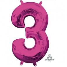 Number 3 Pink CI: Shaped Balloon