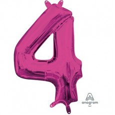 Number 4 Party Decorations - Shaped Balloon CI: Number 4 Pink  40cm