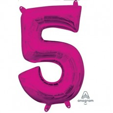 Number 5 Party Decorations - Shaped Balloon CI: Number 5 Pink  40cm