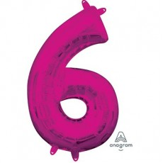 Number 6 Party Decorations - Shaped Balloon CI: Number 6 Pink  40cm