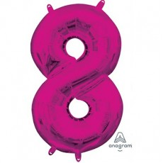 Number 8 Party Decorations - Shaped Balloon CI: Number 8 Pink  40cm
